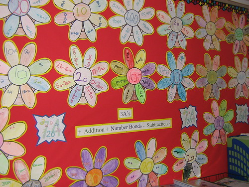 Maths display | Display was made with photocopied flowers on ...