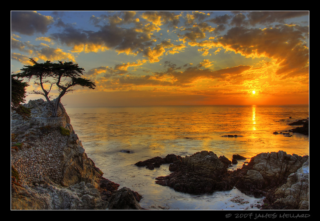 sunset at the lone cypress at pebble beach the final