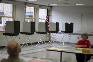 Voting booths at Sedgwick Middle School, West Hartford, CT | by ragesoss