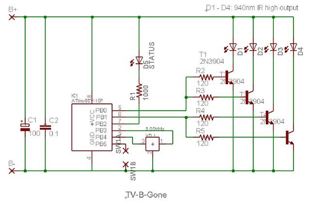 tv b gone schematic darcy neal flickr rh flickr com AM Radio Circuit Diagram AM Radio Circuit Diagram