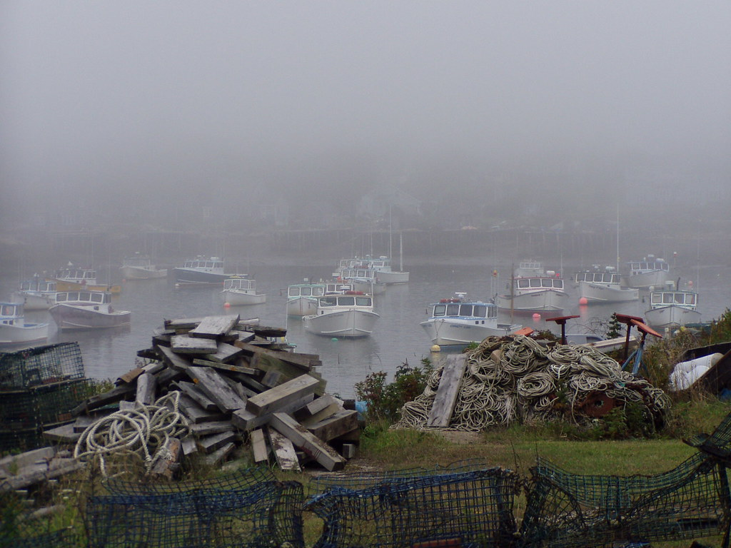Corea, Maine | Foggy day in a lobster fishing village, coast… | Flickr