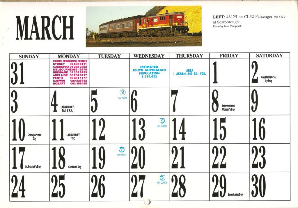1996ATC0007 March page 1996 Australian Trains Calendar