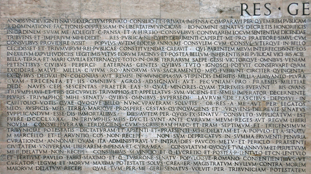 res gestae augustus caesar Augustus and divine imagery he was born gaius octavius from his biological father and later expanded to the name gaius julius caesar octavianus in his res gestae divi augusti, augustus describes that laurels symbolic of his adoptive father were placed at his door that day.