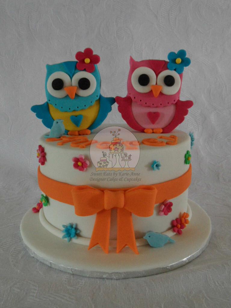 Owl Themed 4th Birthday Cake