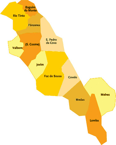 mapa de portugal gondomar Concelho de Gondomar   Portugal | Mapa das freguesias | Jorge  mapa de portugal gondomar