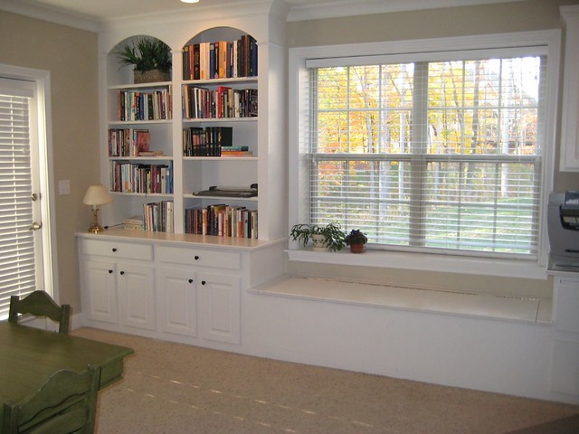 Walkout Basement Built In Bookcase And Window Seat