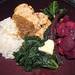 Tasty beets, chicken, rice, curried sweet onions and greens