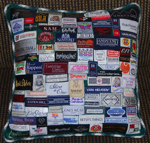Patchwork Quilt Label Pillow | by FamilyMan5k