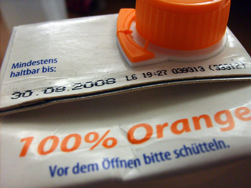 orange juice - expiration date: August 30th, 2008 | by viZZZual.com