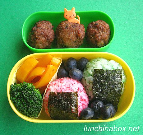 Colorful rice ball bento lunch for preschooler | by Biggie*
