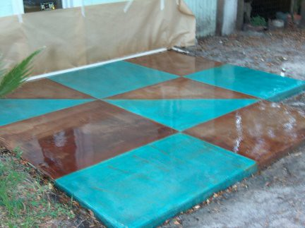 Blue Stained Concrete Patio. Concrete Acid Stained Patio | By Dcsurfaces  Blue N