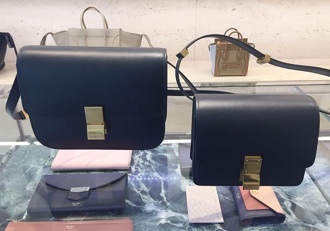 celine navy gold box bag medium vs small size comparison