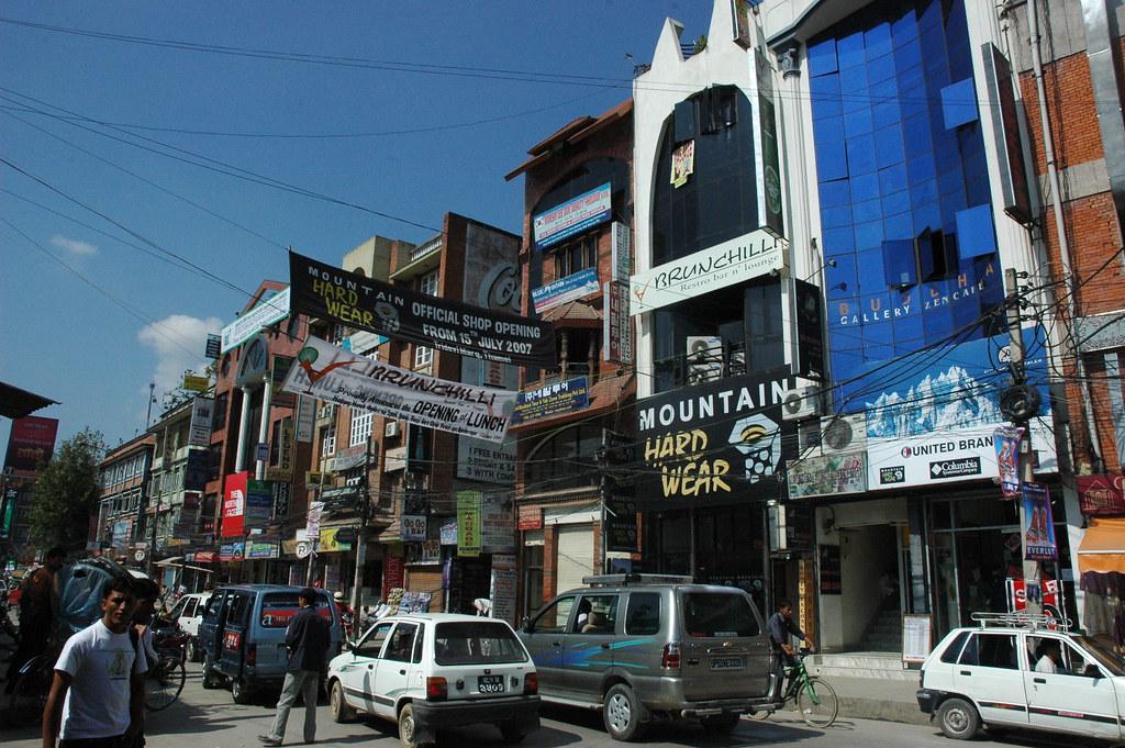 street scene  downtown kathmandu  nepal  on a sunny day  j