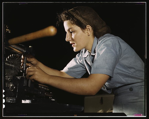 Mary Louise Stepan, 21, used to be a waitress. She has a brother in the air corps. She is working on transport parts in the hand mill, Consolidated Aircraft Corp., Fort Worth, Texas  (LOC) | by The Library of Congress