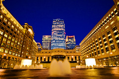 Day 97:  Canary Wharf from Cabot Square | by kayodeok