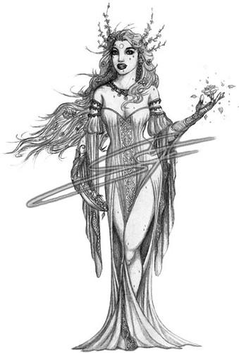 freya pencil drawing of freya norse goddess of spring