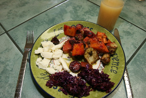Yesterday's dinner: Roasted vegetables with goat cheese curds and cabbage salad | by L. Z.