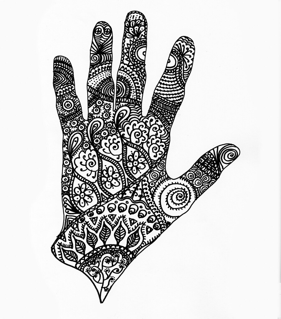 Zentangle Tatoo Draw Round Your Hand And Fill It In R Flickr