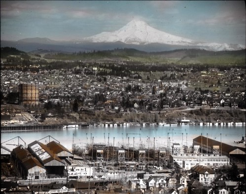 Portland, Oregon with Mt. Hood in background | by OSU Special Collections & Archives : Commons