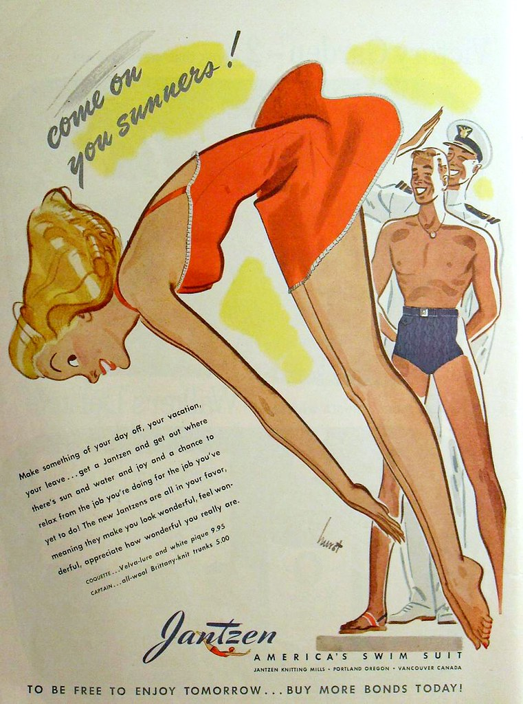 1940s Jantzen Advertisement Swimsuits Men Women Swim Trunk