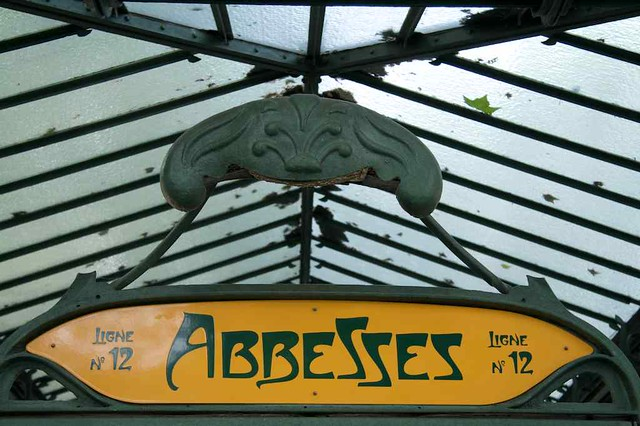Detail of the édicule of Abbesses station design