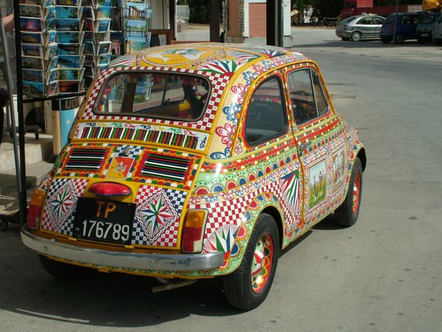 sicilian car this old sicilian fiat 500 has been decorated flickr. Black Bedroom Furniture Sets. Home Design Ideas