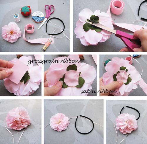 Как сделать простой цветок на ободок