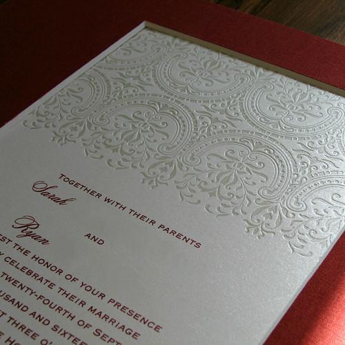 Debossed Wedding Invitation - Detail