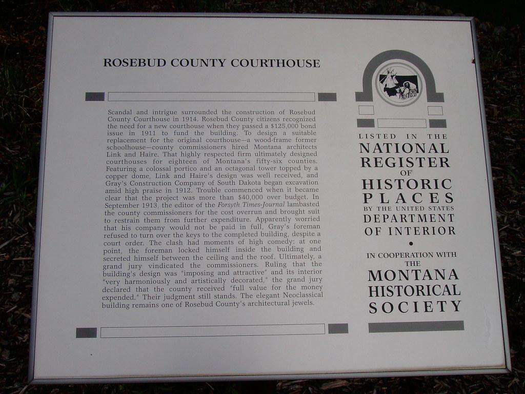 Montana rosebud county forsyth - Rosebud County Courthouse Marker Forsyth Montana