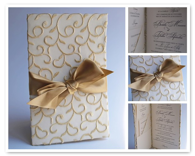 Wedding Invitations Handmade: Fabric Wrapped Wedding Invitation