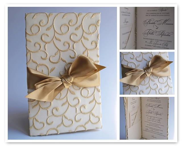 Wedding Invitations Handmade Ideas: Fabric Wrapped Wedding Invitation