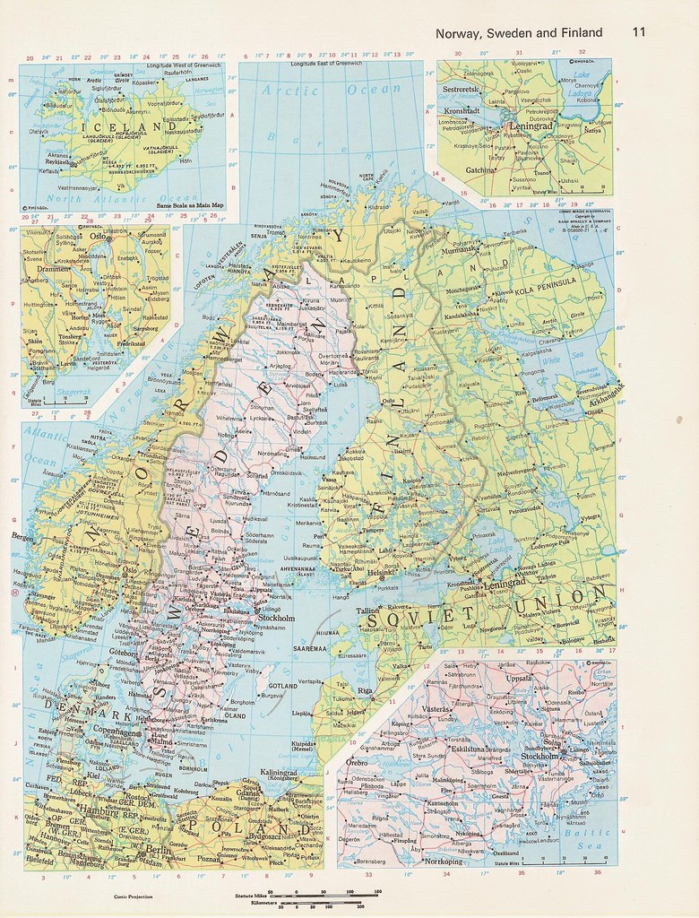 C1980s norway sweden finland and western soviet union colo flickr c1980s norway sweden finland and western soviet union color world atlas map by walker street gumiabroncs Images