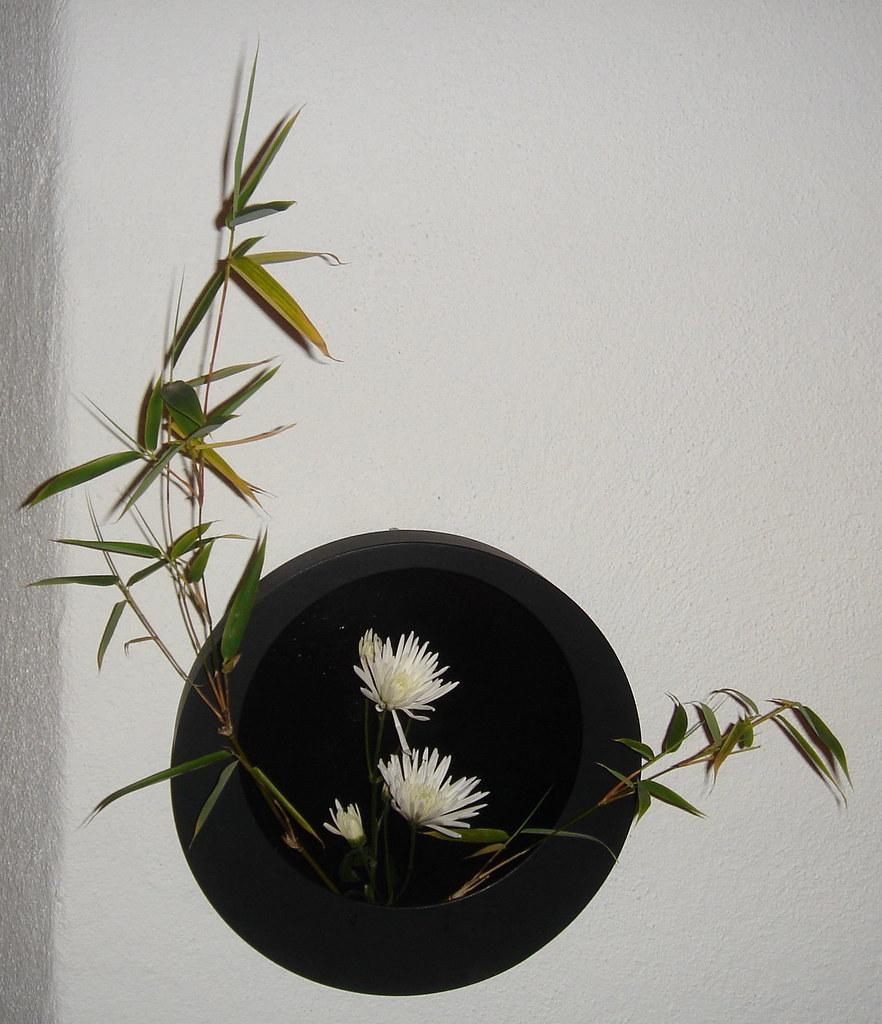 20091019f Waxing Moon Ikebana Slanting Variation No 2
