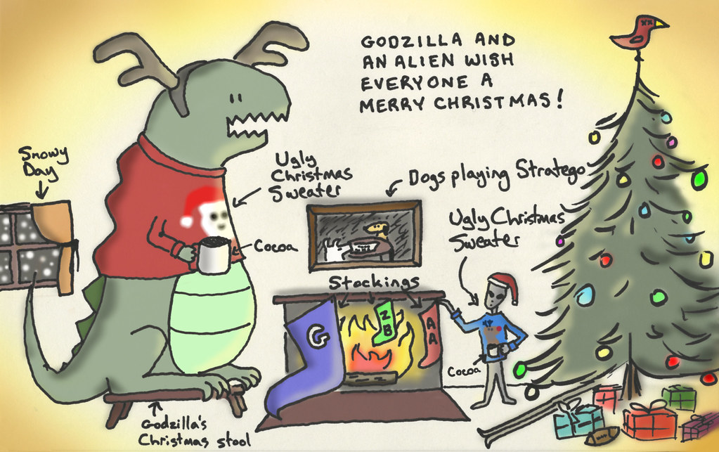 godzilla and an alien wish everyone a merry christmas | Flickr