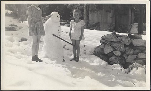 1940s Odd Unusual Girls In Skirts With Snowman Vintage Photo