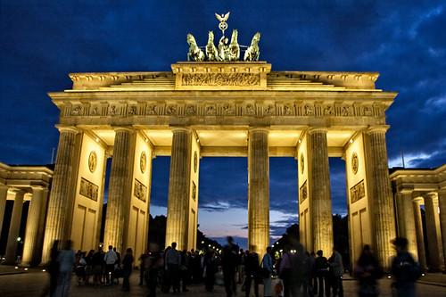 Brandenburg Gate at night | Famous European landmark The