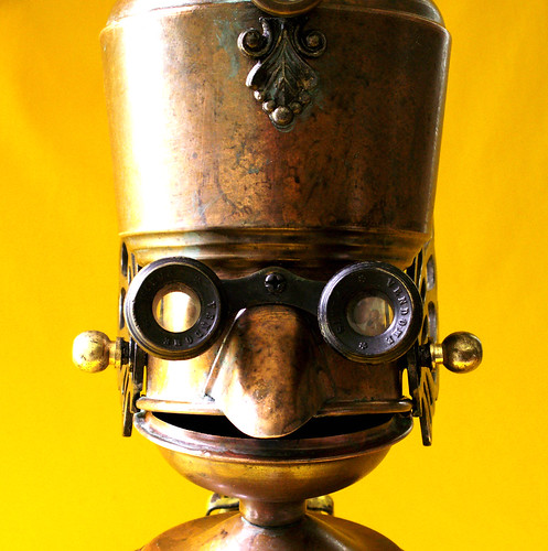 robot assemblage sculpture * PROFESSOR PORTLY - The Endlessly Curious Seeker Of Wisdom And Truth Steampunk Robot | by Reclaim2Fame