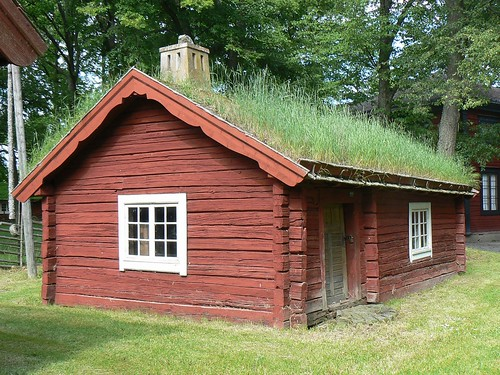 Traditional red wooden house with green grass roof sweden flickr - Traditional houses attic ...