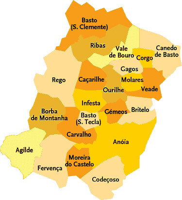 celorico de basto mapa Concelho de Celorico de Basto   Mapa das freguesias   Jorge Bastos  celorico de basto mapa