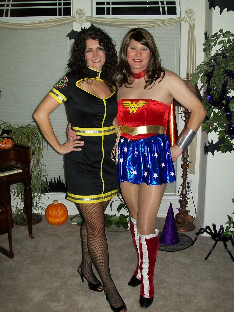 Teen ass couple halloween costume wearing pantyhose
