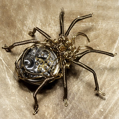 Steampunk Clockwork Spider Brass and Copper Wire Sculpture | by Catherinette Rings Steampunk