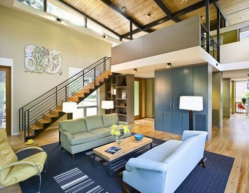 11 modern rainshine house design staircase living room for Interior design for living room roof