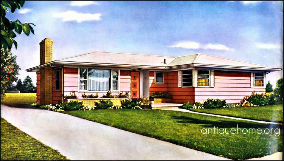 Pink sixties ranch liberty kit homes 1960 daily for Ranch home kits