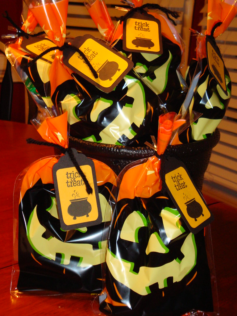 halloween goodie bags with stamped tags | mae armstrong | flickr