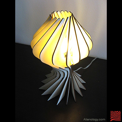 Bloom Table Lamp - laser-cut plywood pattern shade - Alien ...