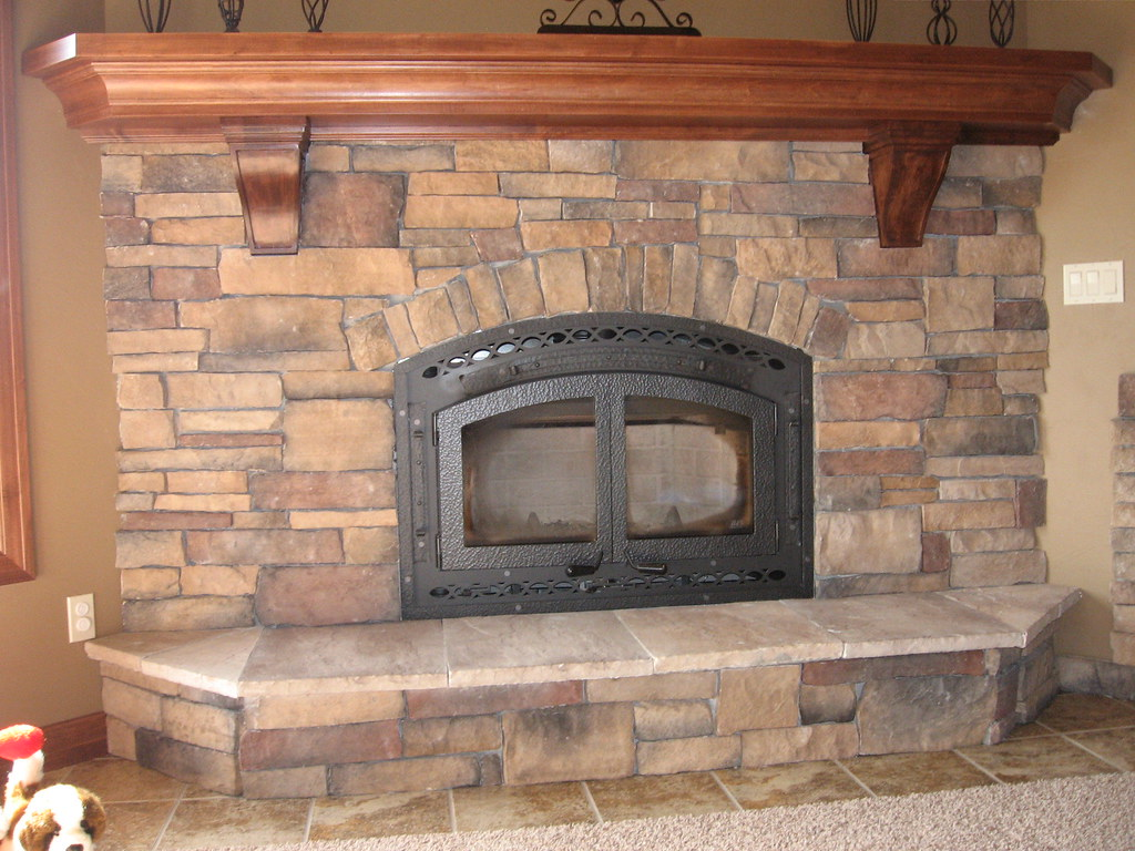 Stone fireplace maple mantle this would be the after for Fireplace no mantle