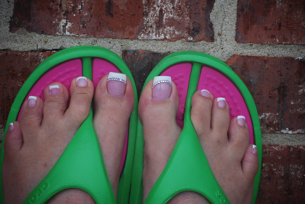 FRENCH PEDICURE | Acrylic toes with 12 diamonds on each big … | Flickr