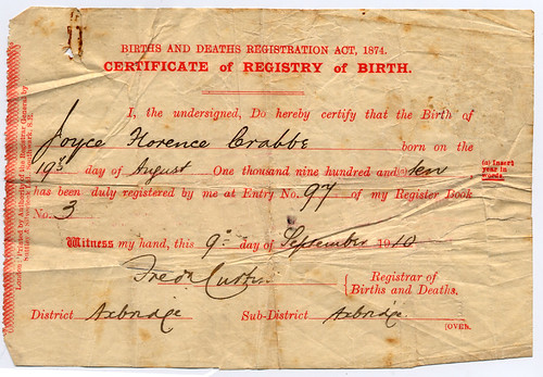short birth certificate front