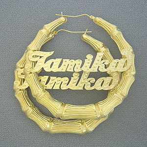 10k Gold Personalized Name Bamboo Hoop Earrings 3 Inch Gb2 Flickr