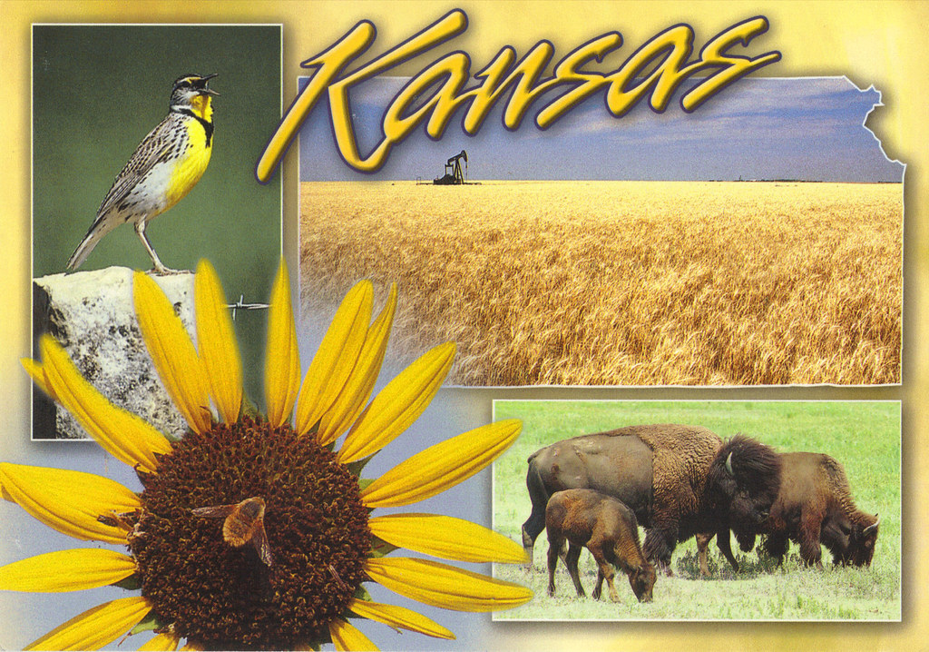 Kansas Map State Symbols Postcard Im Offering Tag From Pa Flickr